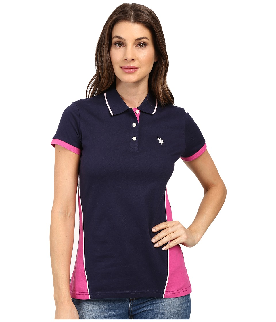 U.S. POLO ASSN. - Splice Polo Shirt (Evening Blue) Women's Clothing