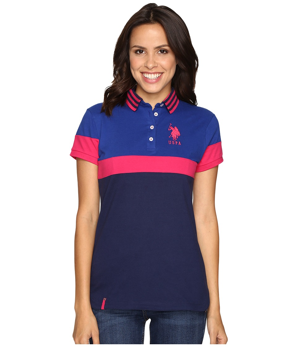 U.S. POLO ASSN. - Tipped Polo Shirt (Medieval Blue) Women's Clothing