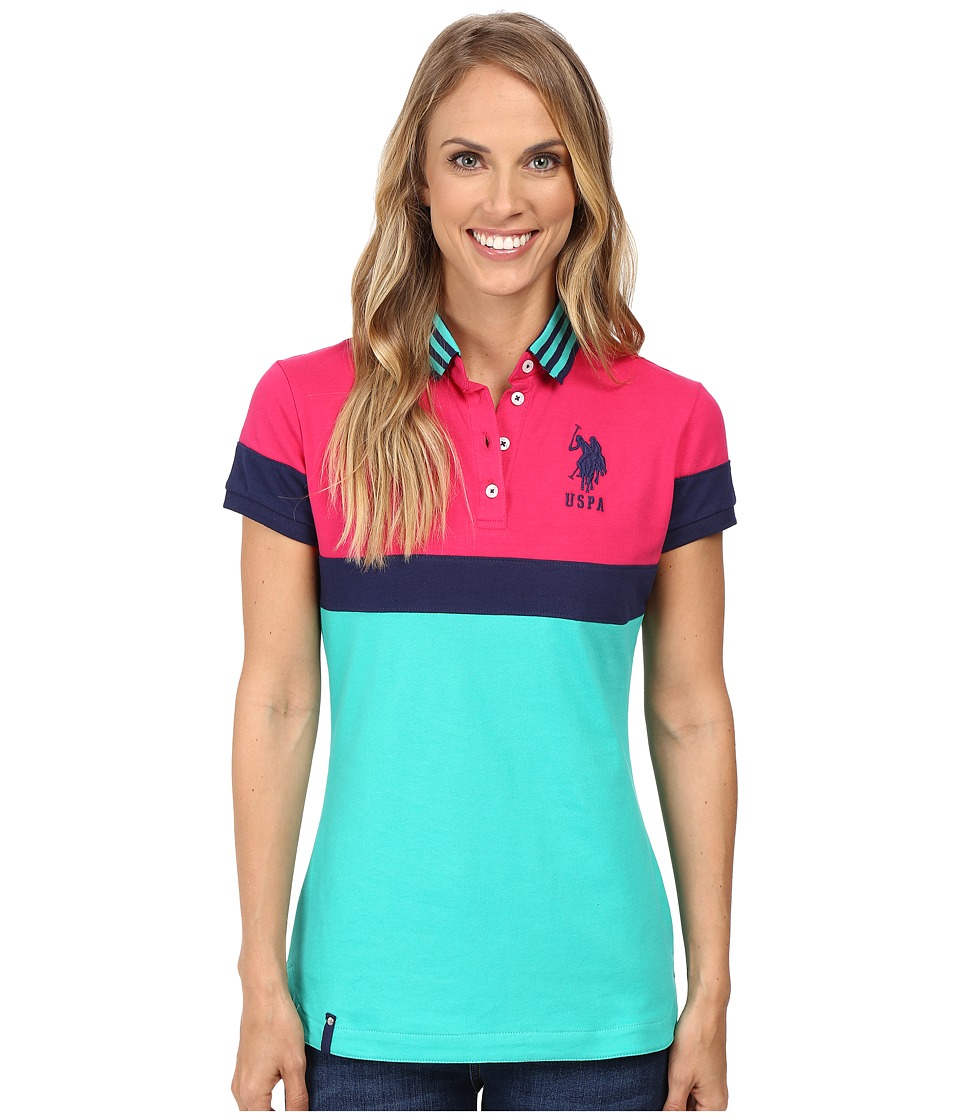 U.S. POLO ASSN. - Tipped Polo Shirt (Peacock Green) Women's Clothing