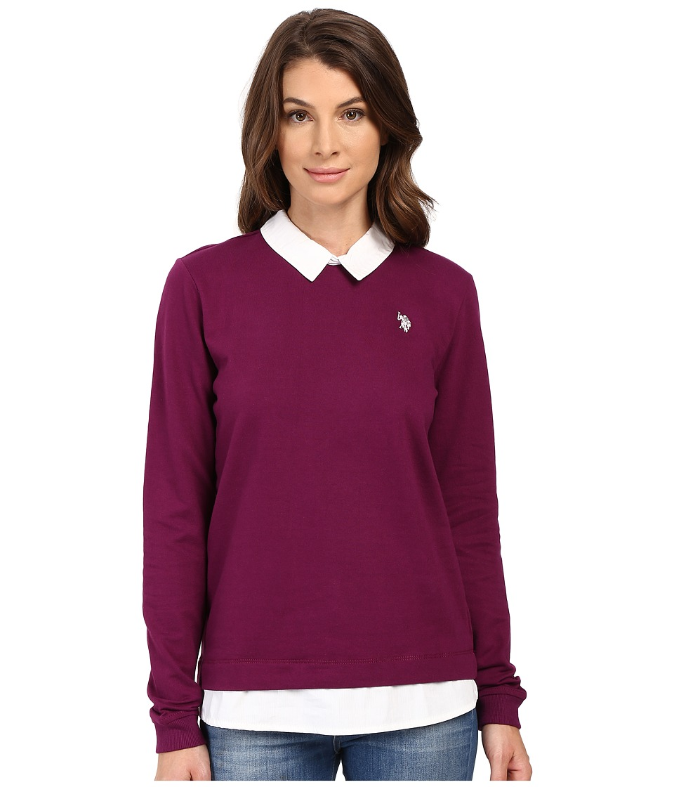 U.S. POLO ASSN. - French Terry Pullover Twofer Shirt (Merlot Wine) Women's Clothing