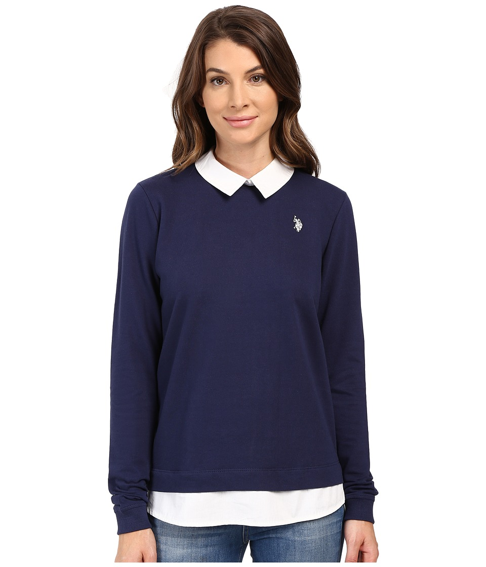 U.S. POLO ASSN. - French Terry Pullover Twofer Shirt (Tribal Navy) Women's Clothing