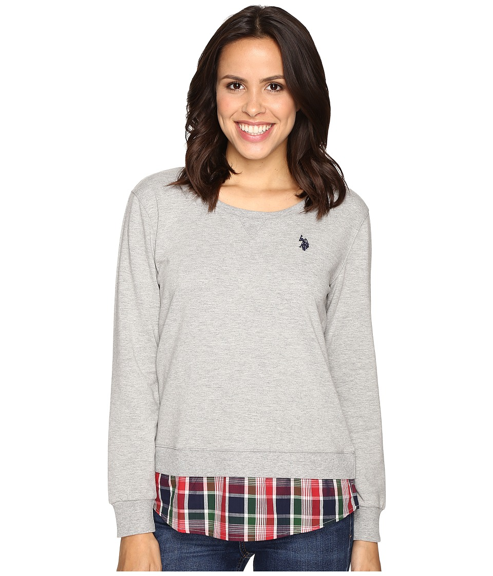 U.S. POLO ASSN. - Crew Neck Sweater Twofer Shirt with Plaid Hem (Heather Grey) Women's Sweater
