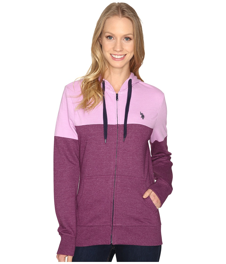 U.S. POLO ASSN. - French Terry Color Block Hoodie (Merlot Wine) Women's Sweatshirt