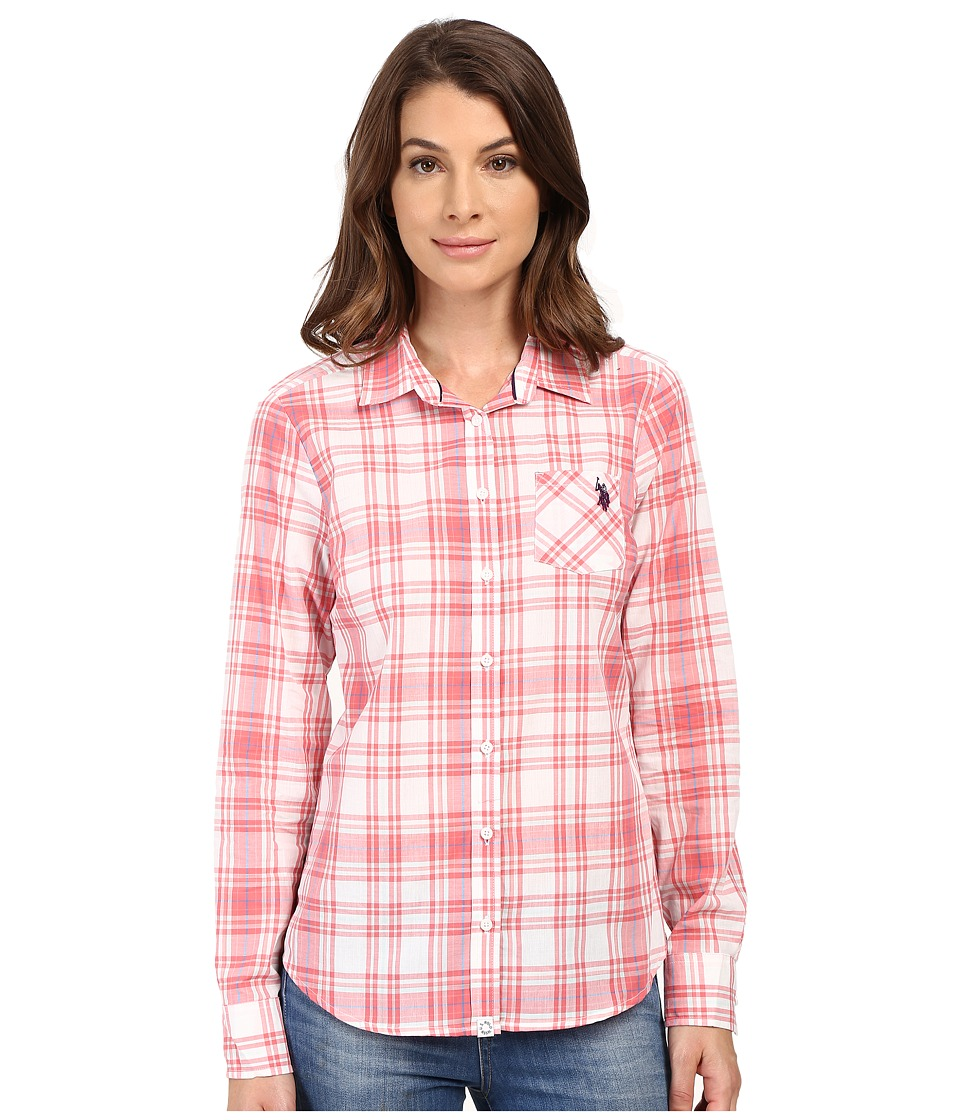 U.S. POLO ASSN. - Woven Plaid Shirt (Sunkist Coral) Women's Clothing