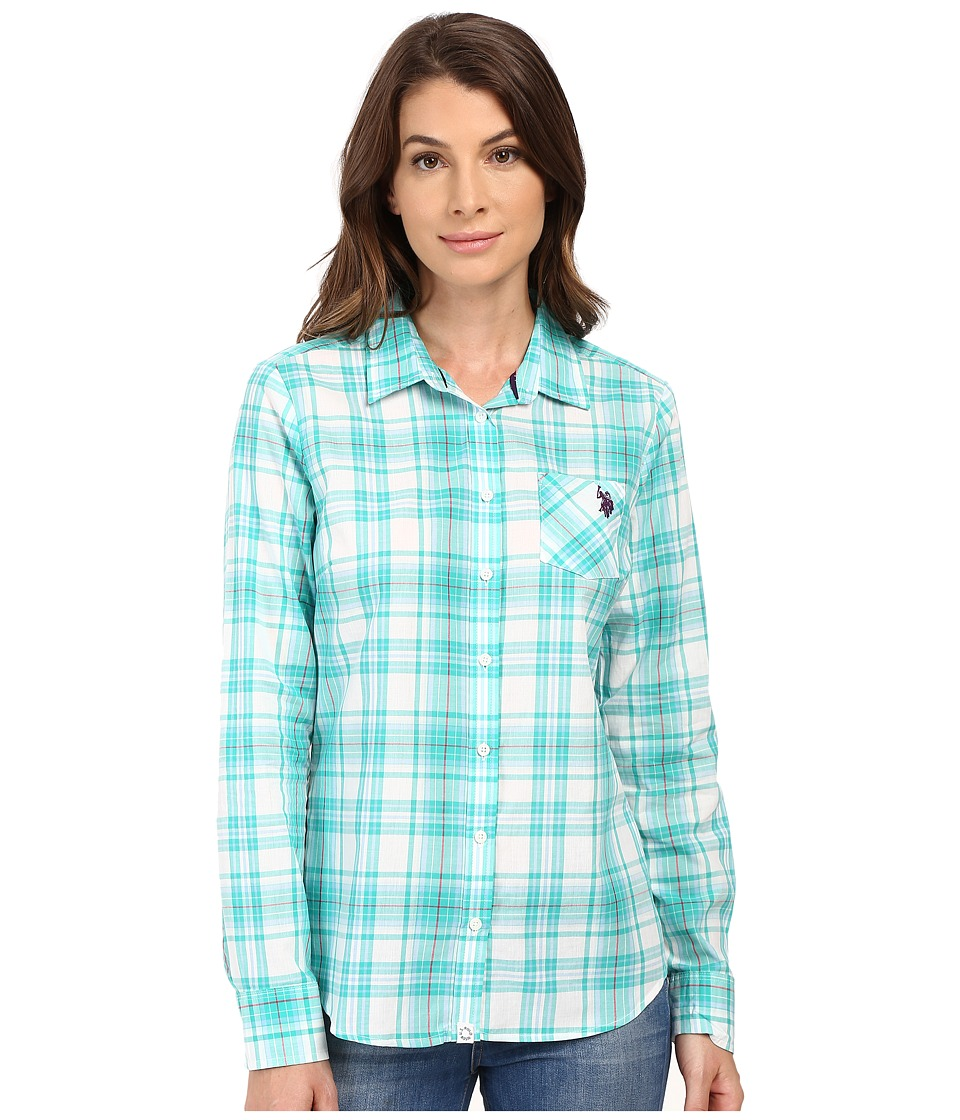 U.S. POLO ASSN. - Woven Plaid Shirt (Atlantis) Women's Clothing