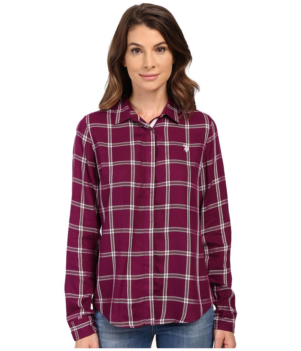 U.S. POLO ASSN. - Woven Button Up Shirt (Merlot Wine) Women's Clothing
