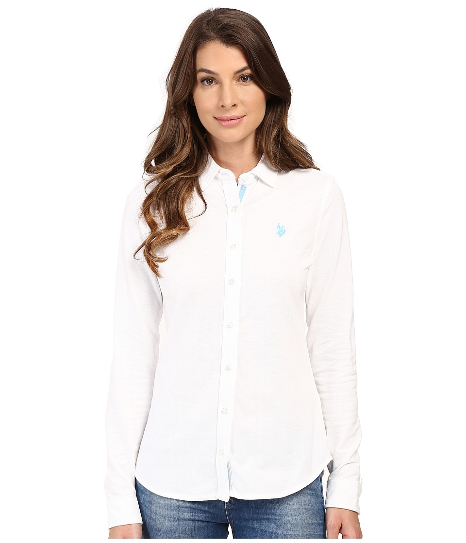 U.S. POLO ASSN. - Knit Pique Button Up Shirt (Bright White) Women's Clothing