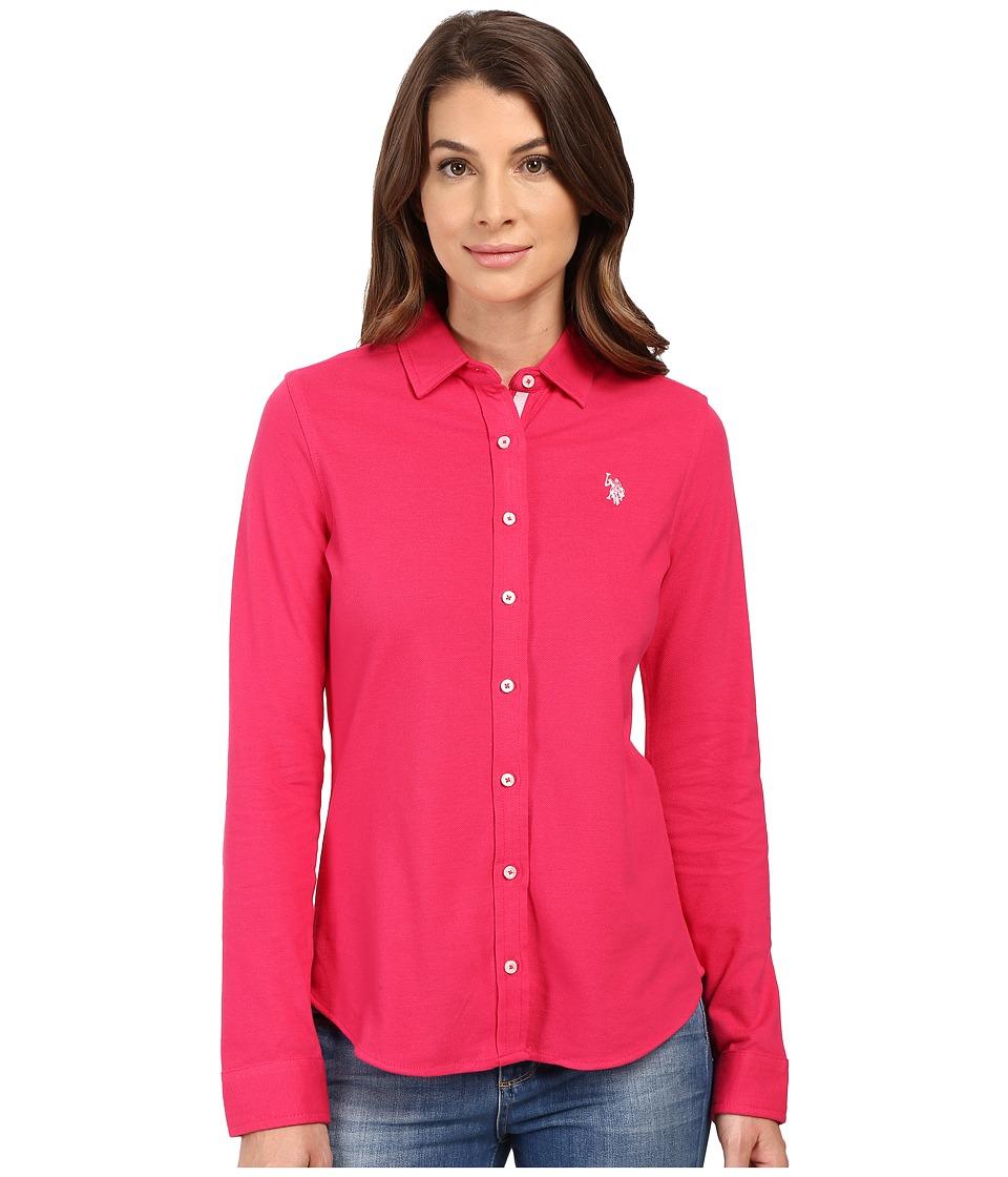 U.S. POLO ASSN. - Knit Pique Button Up Shirt (Bright Rose) Women's Clothing