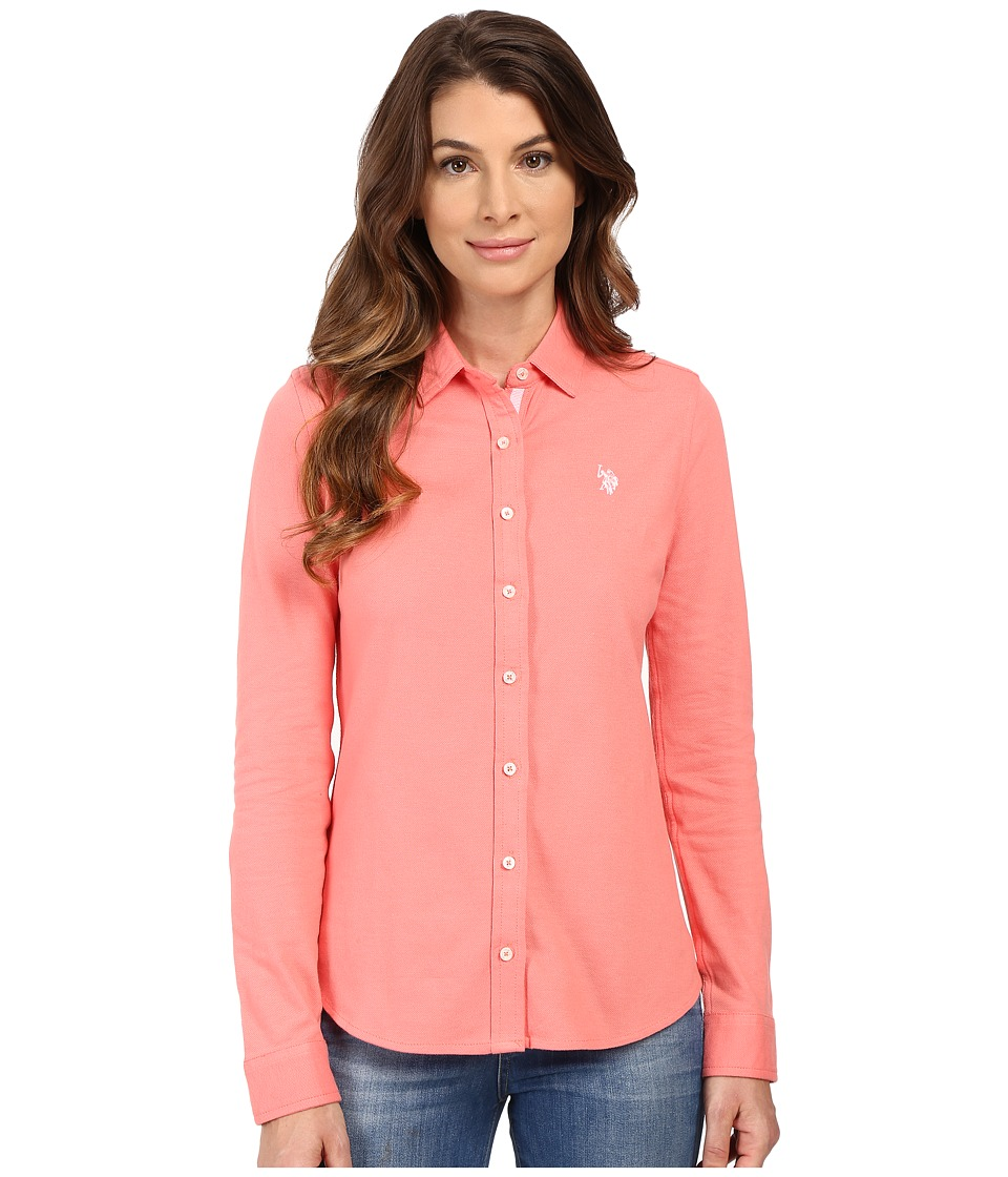 U.S. POLO ASSN. - Knit Pique Button Up Shirt (Shell Pink) Women's Clothing
