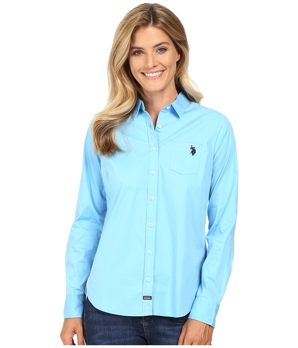 U.S. POLO ASSN. - Woven Pocket Shirt (Alaskan Blue) Women's Clothing