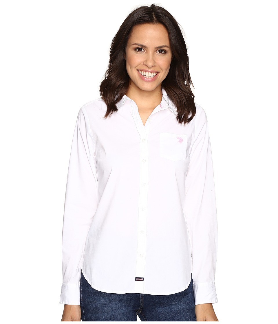 U.S. POLO ASSN. - Woven Pocket Shirt (Bright White) Women's Clothing