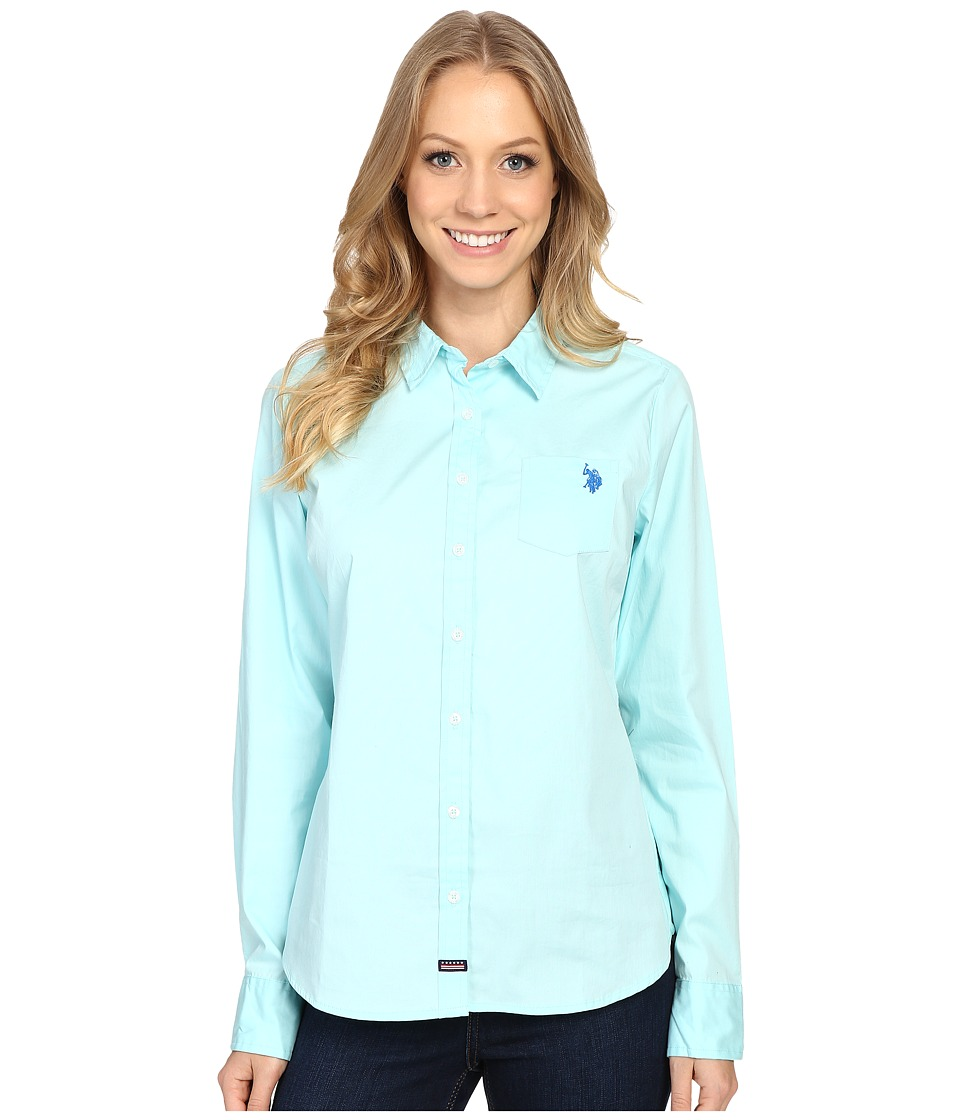 U.S. POLO ASSN. - Woven Pocket Shirt (Clearwater) Women's Clothing