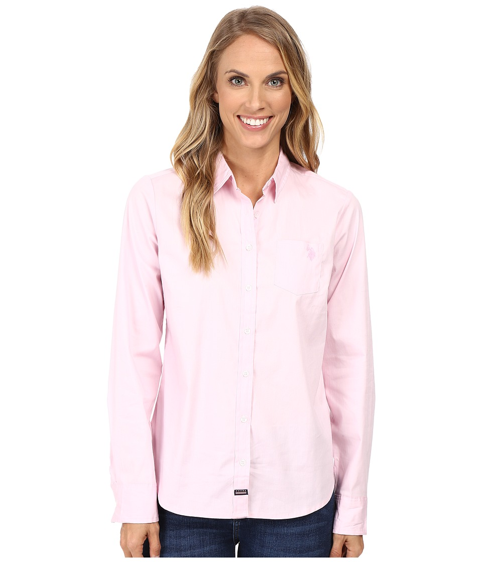 U.S. POLO ASSN. - Woven Pocket Shirt (Pink Lady) Women's Clothing