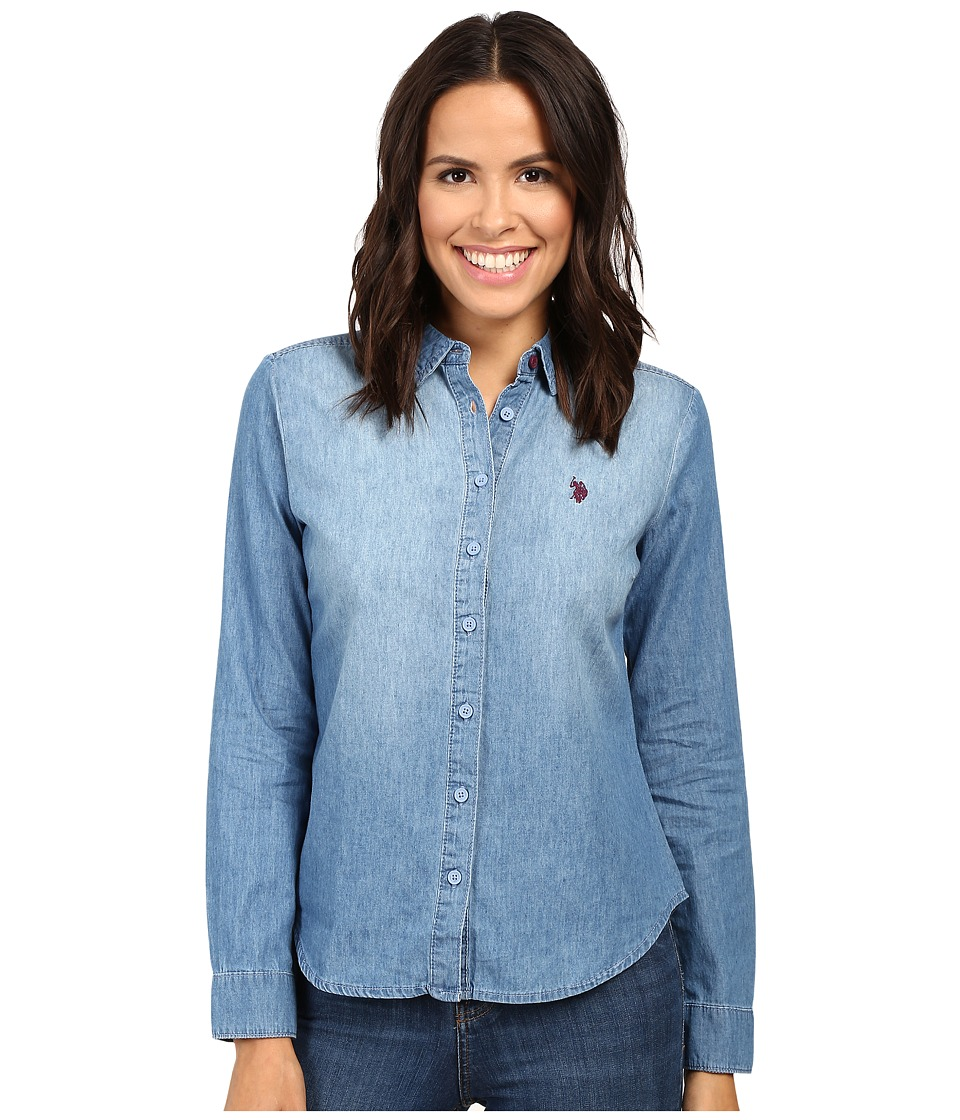 U.S. POLO ASSN. - Long Sleeve Denim Shirt (Light Indigo Wash) Women's Clothing