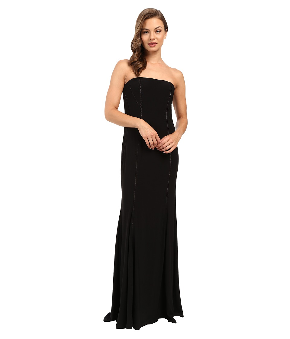 Adrianna Papell - Strapless Cut Out Jersey Gown (Black) Women's Dress