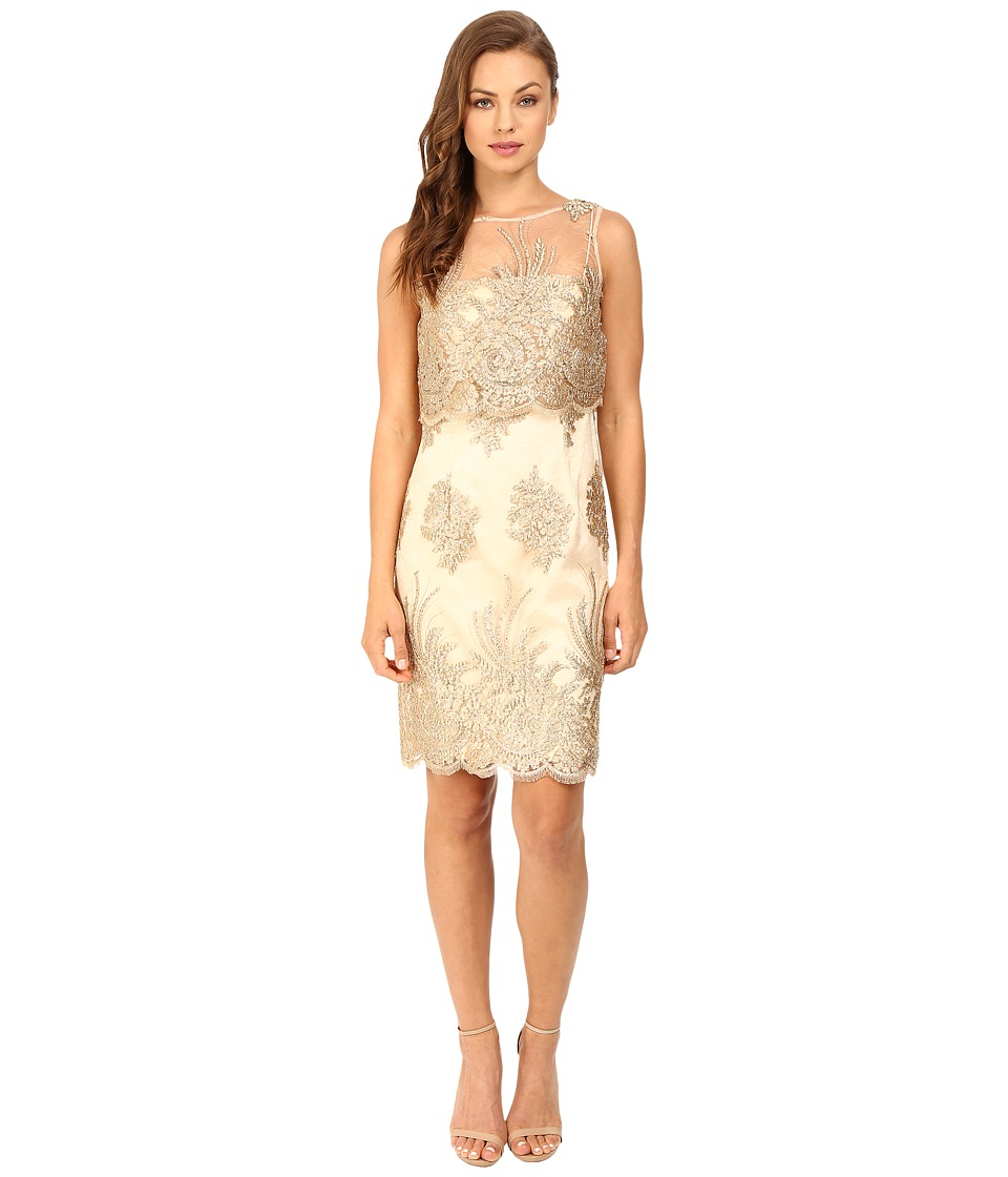 Adrianna Papell - Metallic Corded Lace Popover Dress (Gold) Women's Dress