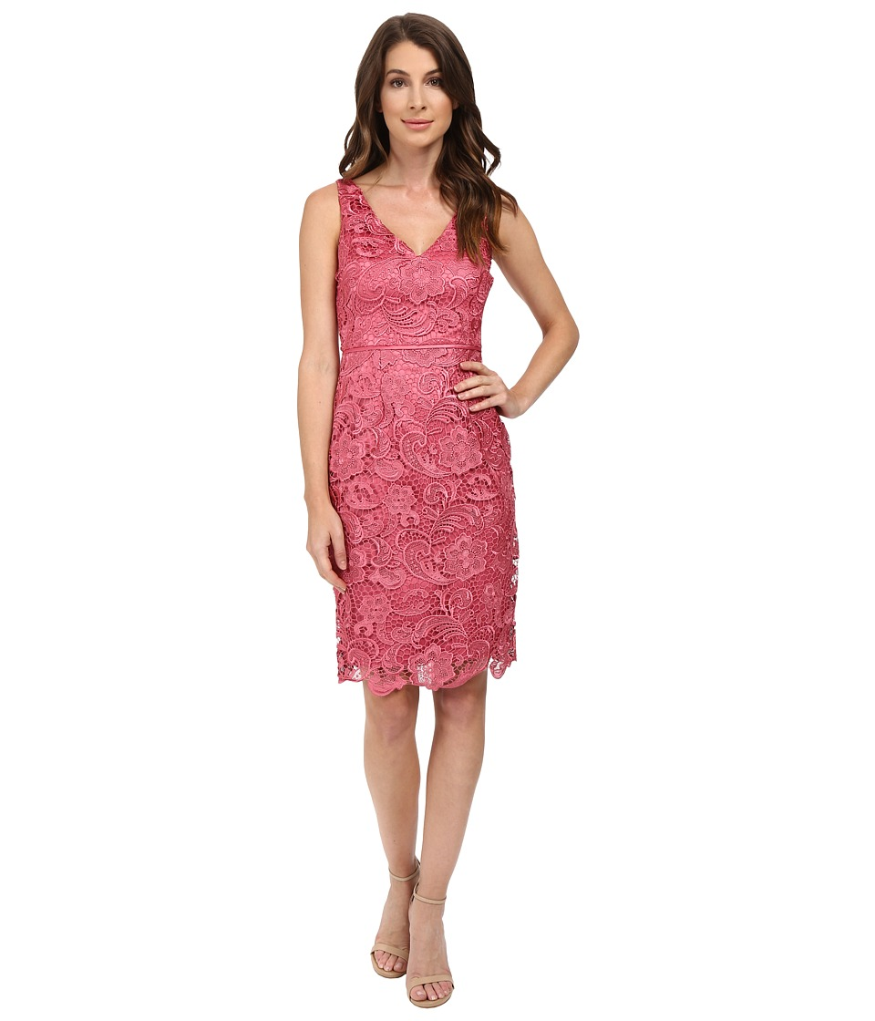 Adrianna Papell - V-Neck Lace Dress (Rouge) Women's Dress