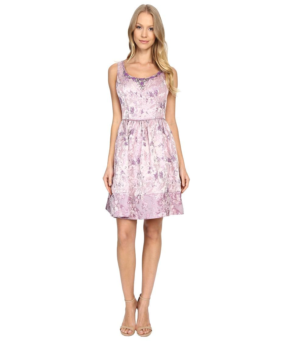Adrianna Papell Metallic Jacquard Short Dress (Purple Multi) Women