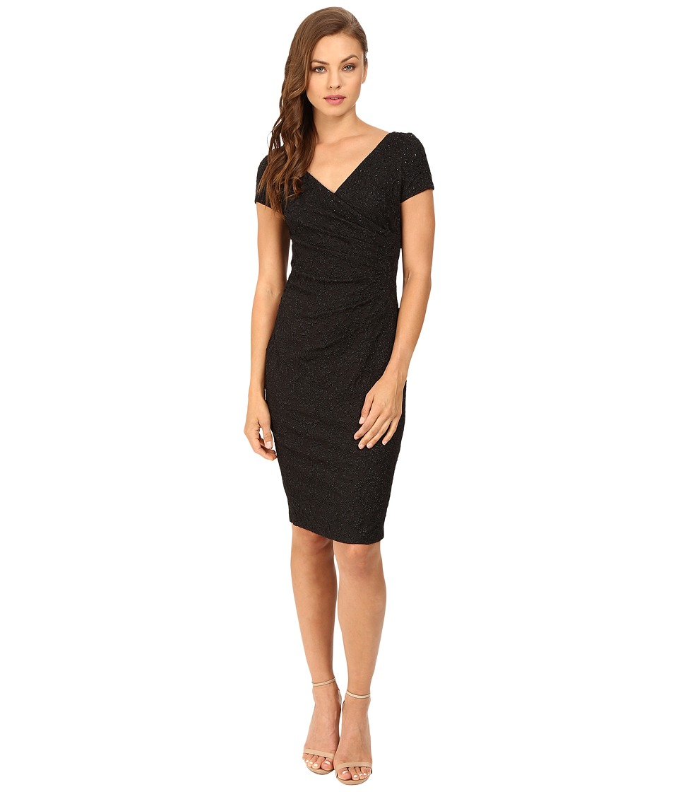 Adrianna Papell - Wrap Front Jacquard Dress (Black) Women's Dress