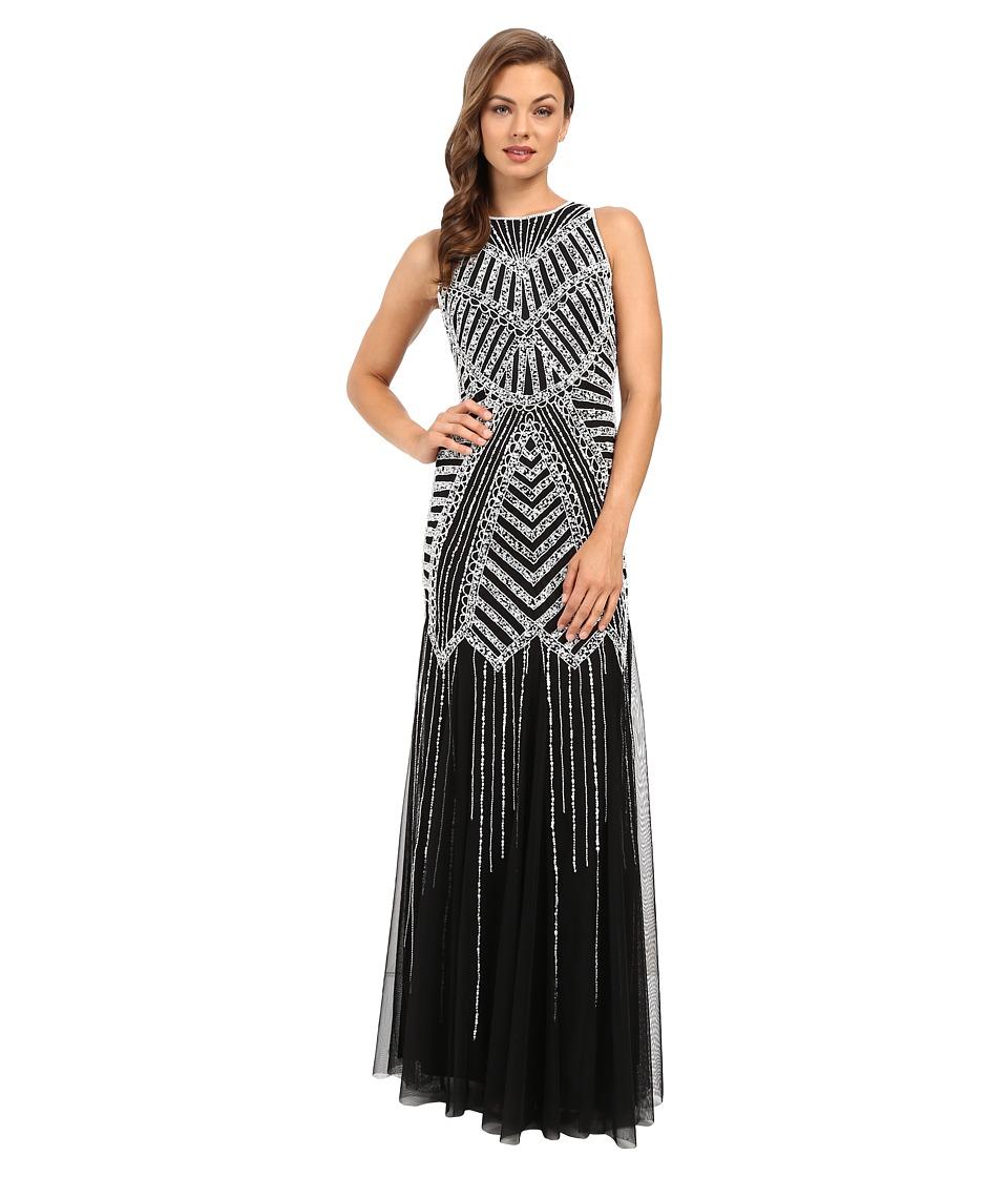 Adrianna Papell - Halter Beaded Godet Gown (Black/White) Women's Dress