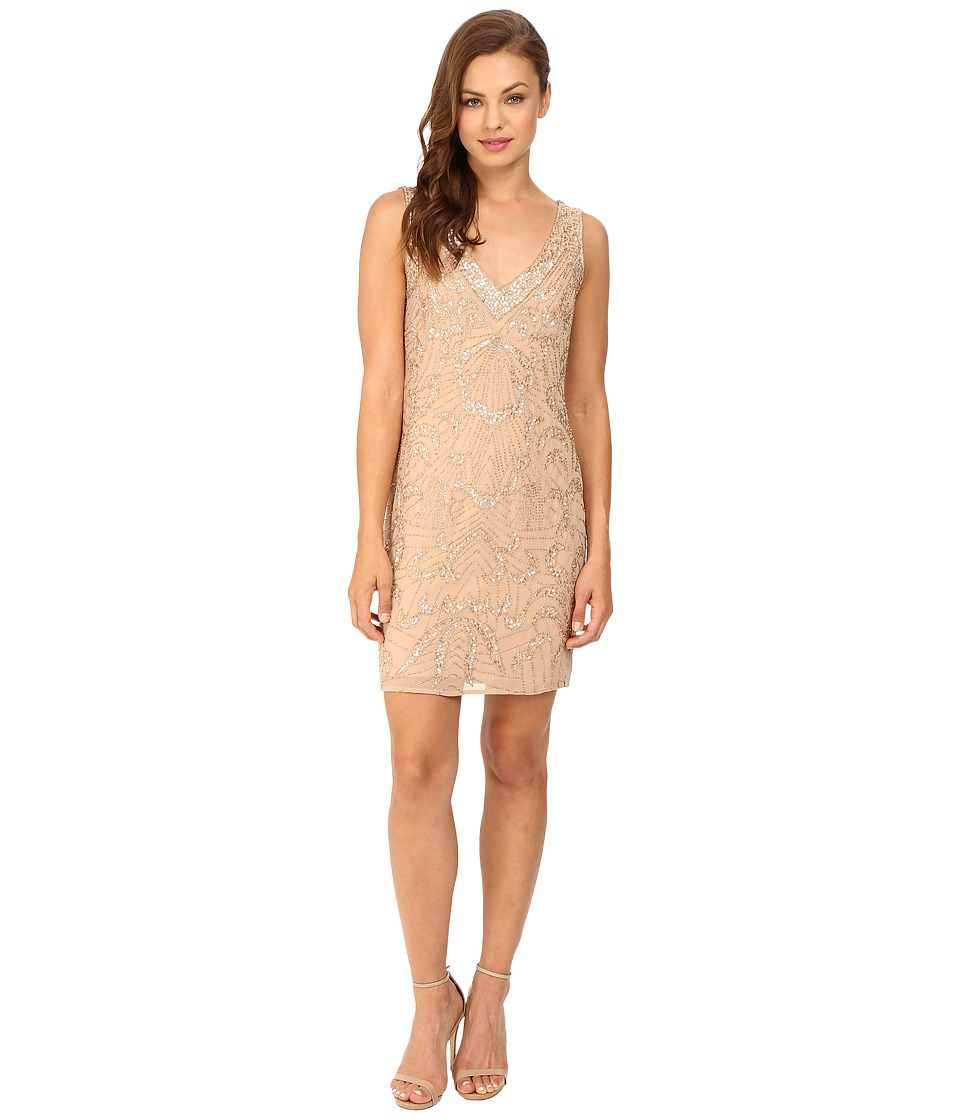 Adrianna Papell - Sleeveless Beaded Cocktail Dress (Champagne) Women's Dress
