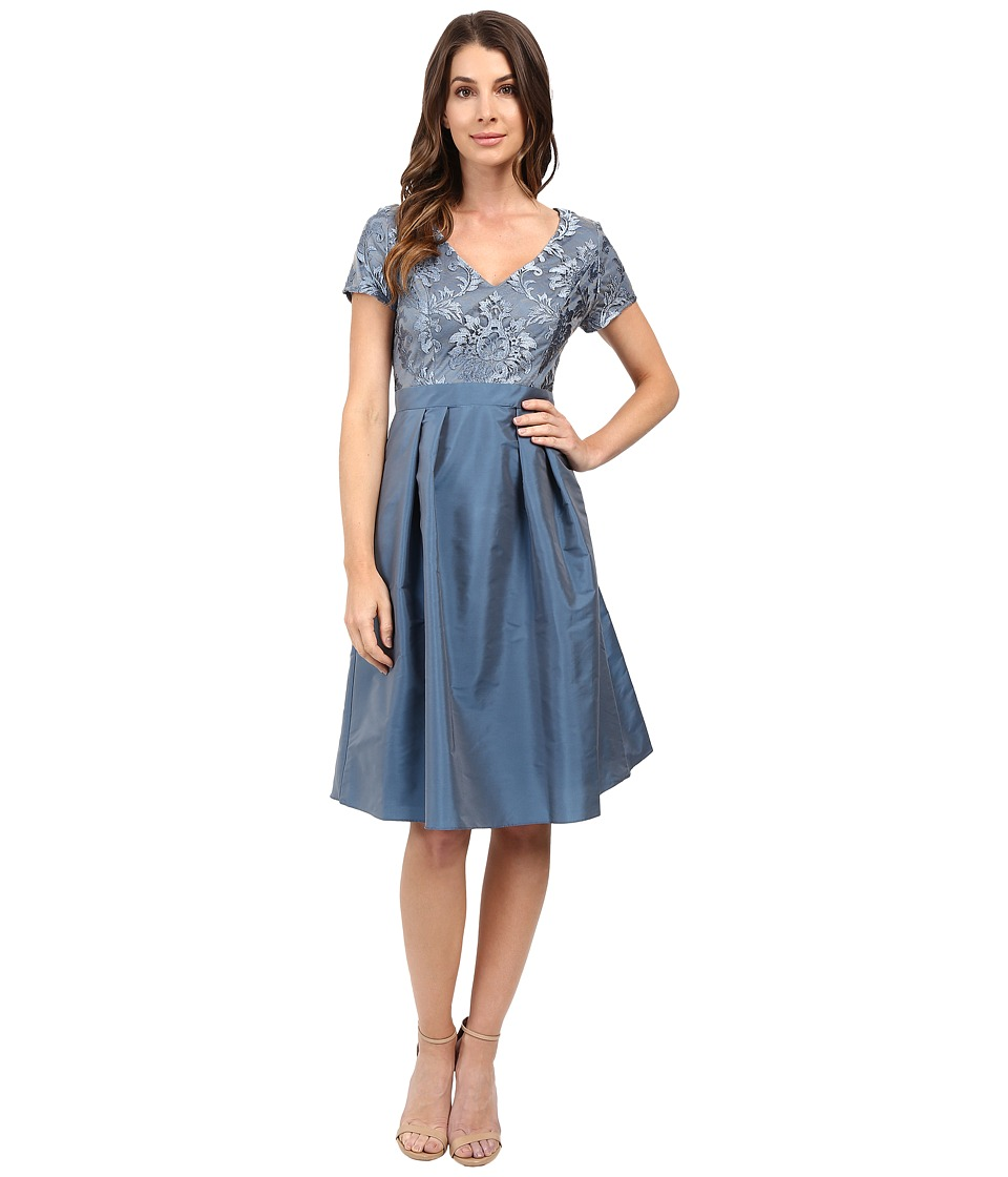 Adrianna Papell - Lace V-Neck with Pleated Skirt (Dusty Blue) Women's Dress