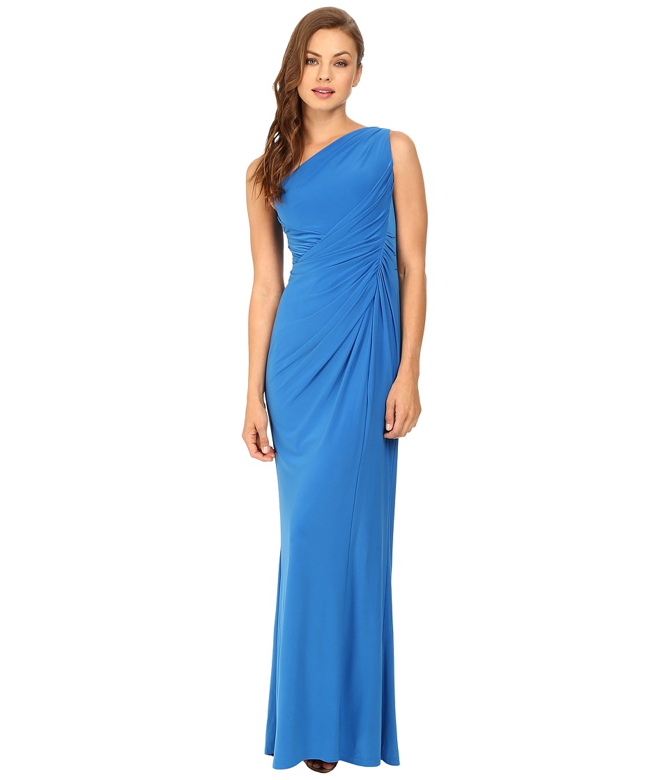 Adrianna Papell - One Shoulder Jersey Gown (Cobalt) Women's Dress