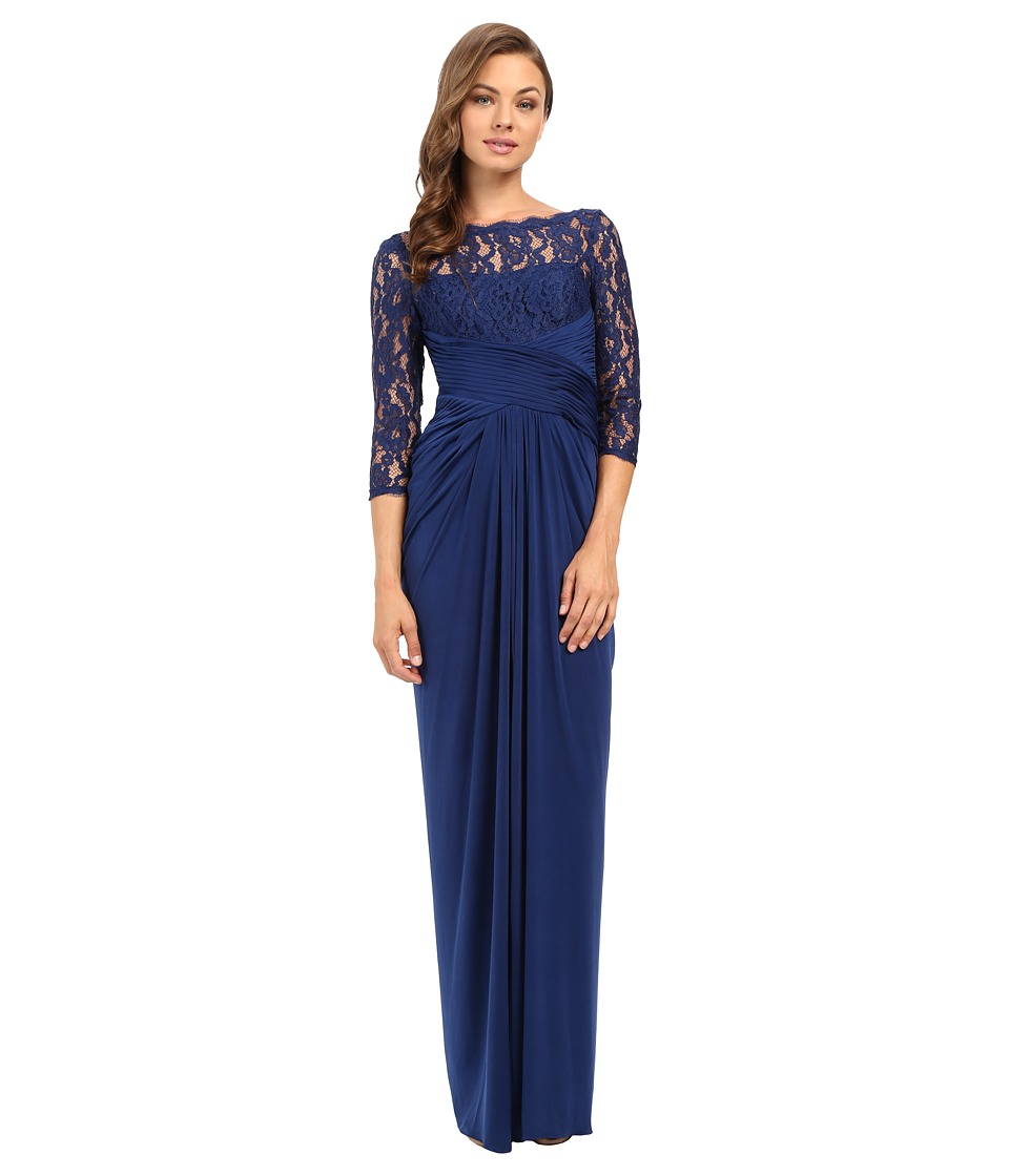 Adrianna Papell - Lace and Venician Jersey Gown (Navy) Women's Dress