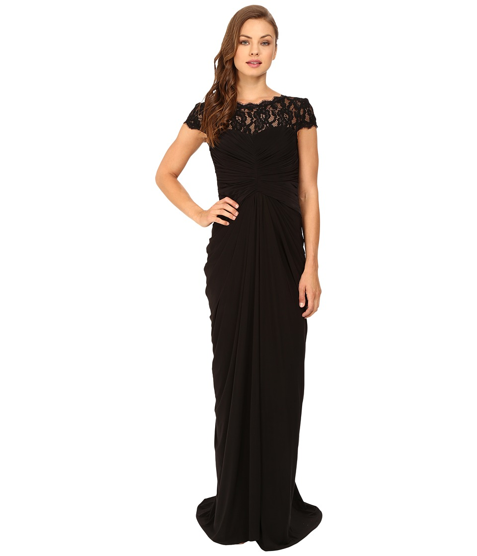 Adrianna Papell - Lace and Venician Jersey Gown (Black) Women's Dress