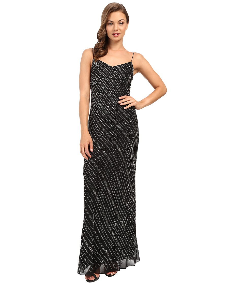 Adrianna Papell - Sleeveless Bead Bias Gown (Black) Women's Dress