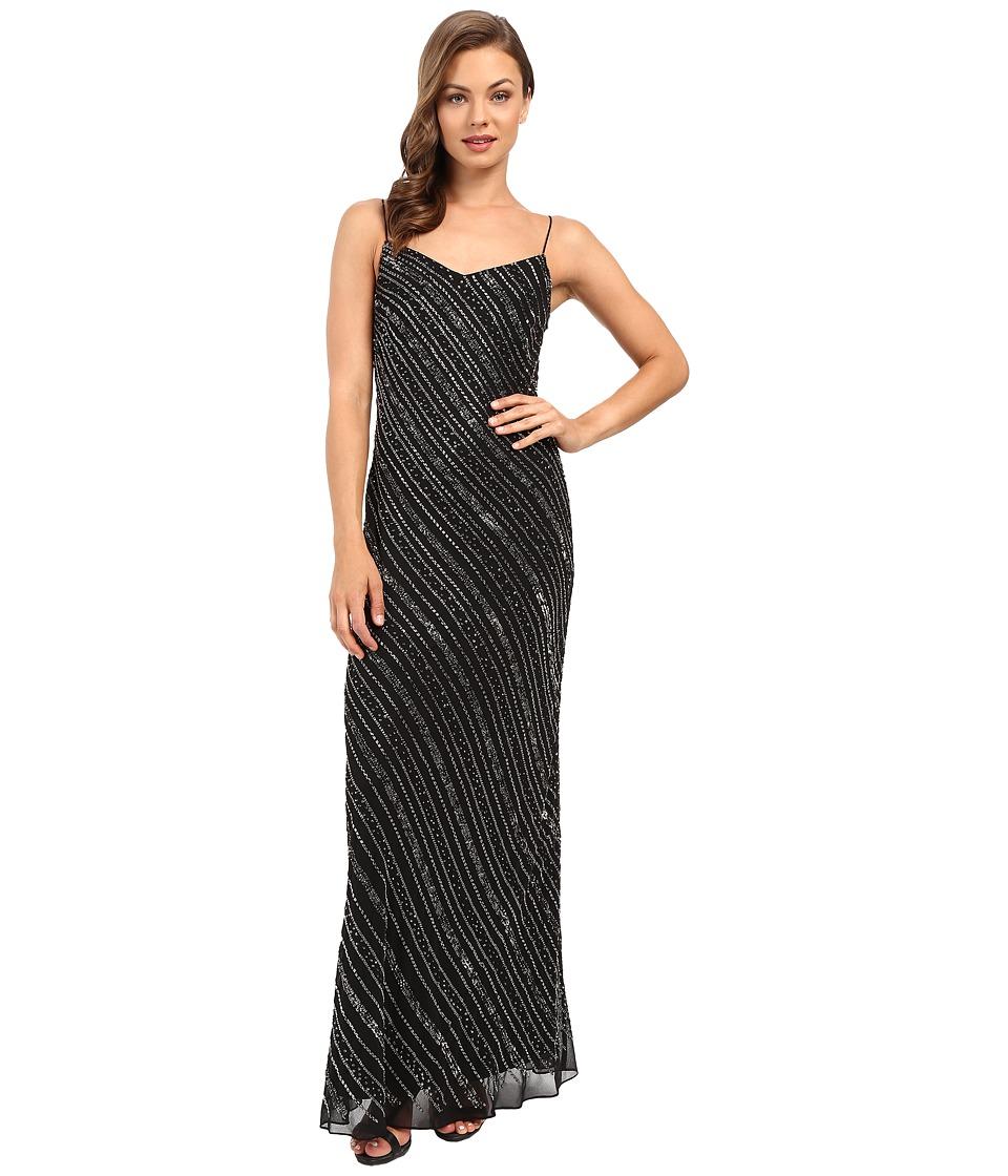 Adrianna Papell - Sleeveless Bead Bias Gown (Black) Women's Dress