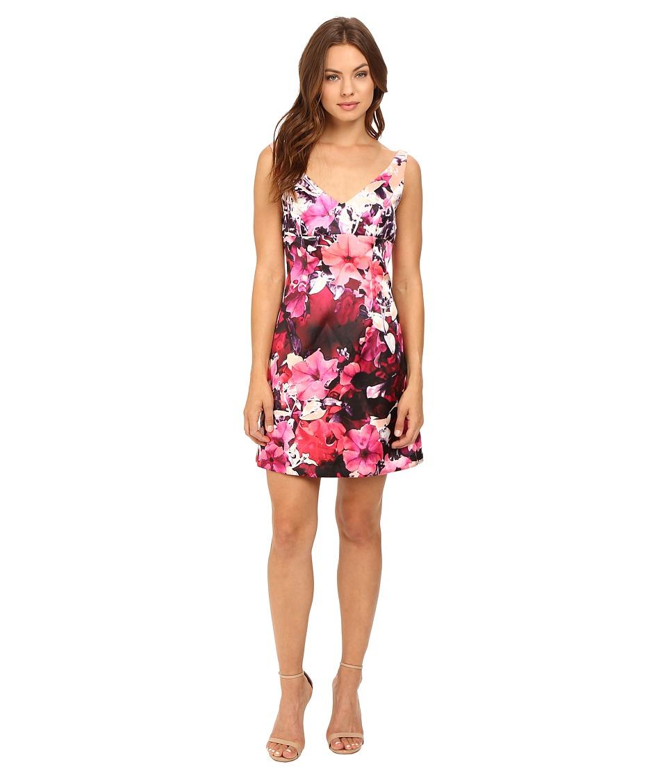 Adrianna Papell Deep V-Neck Mikado Dress (Pink Multi) Women