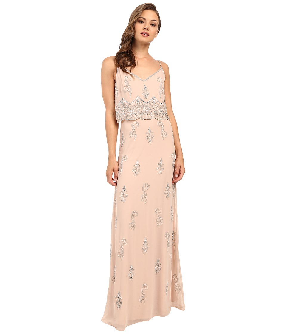 Adrianna Papell - Sleeveless Beaded Popover Gown (English Rose) Women's Dress