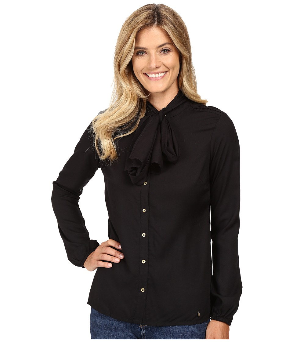 U.S. POLO ASSN. - Long Sleeve Tie Front Shirt (Anthracite) Women's Clothing