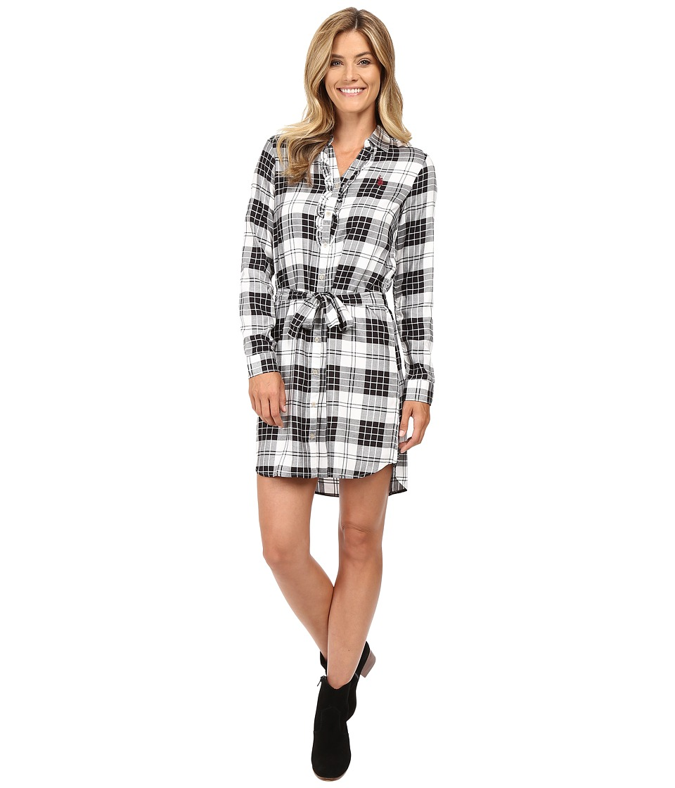 U.S. POLO ASSN. - Long Sleeve Plaid Dress (Bright White) Women's Dress
