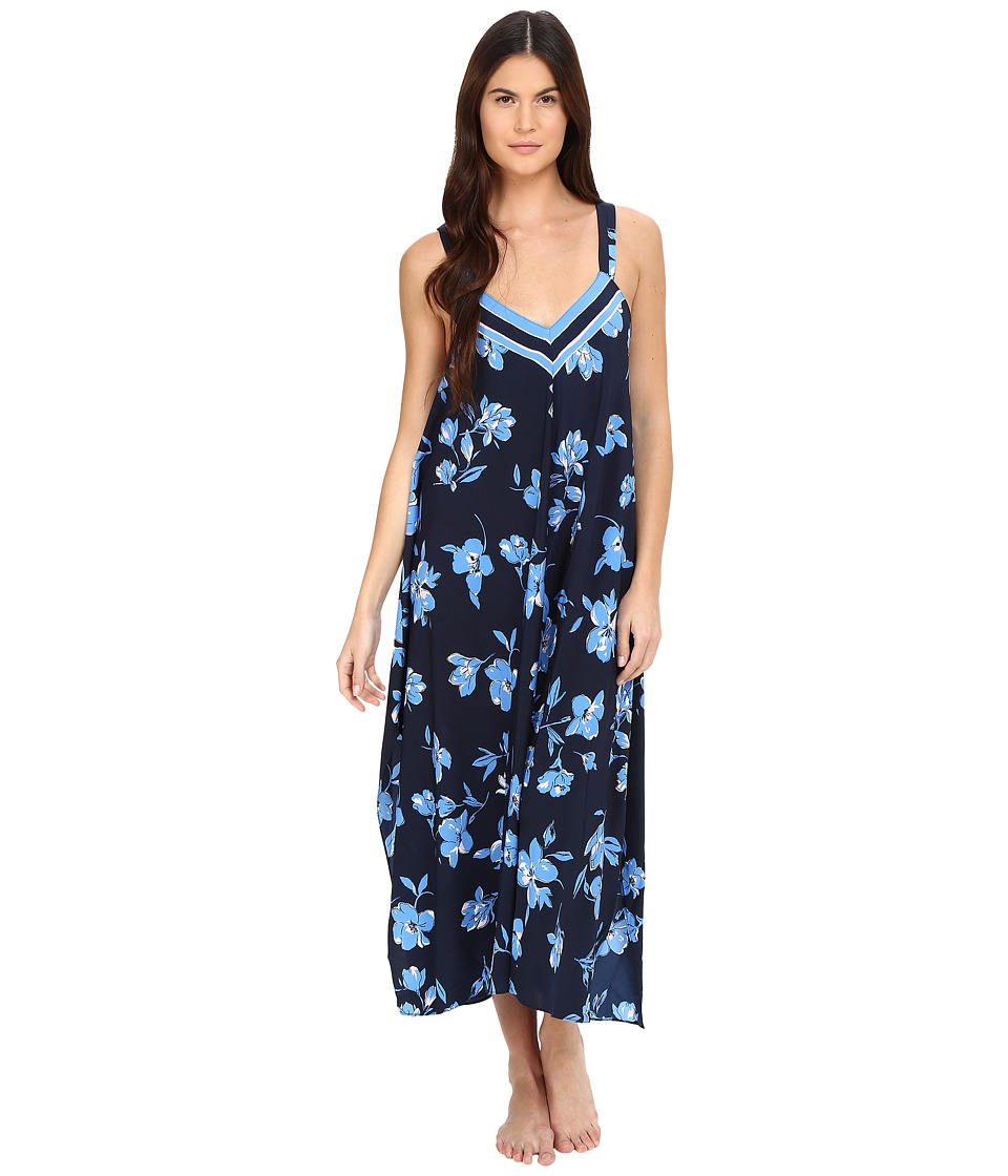 Oscar de la Renta - Border Printed Crepe Long Gown (Blue Magnolia Border) Women's Pajama