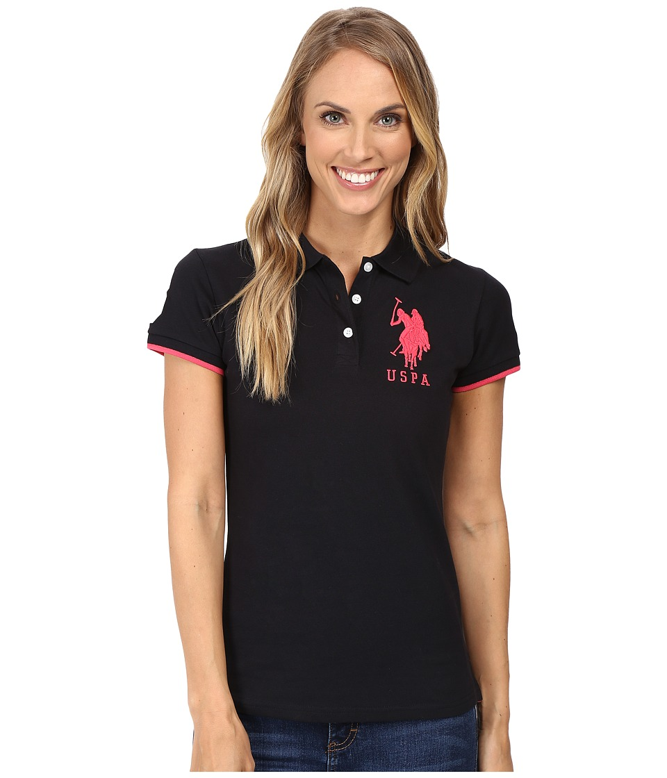 U.S. POLO ASSN. - Contrast Patch Big Pony Polo (Anthracite/Pink) Women's Short Sleeve Pullover
