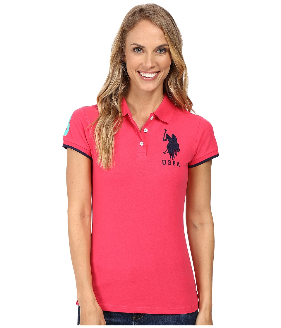 U.S. POLO ASSN. - Contrast Patch Big Pony Polo (Pink/Navy) Women's Short Sleeve Pullover