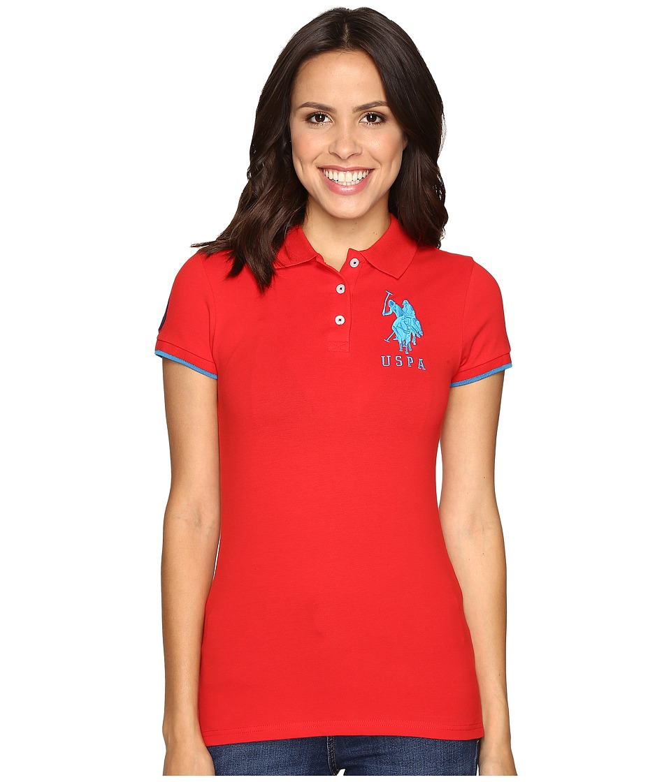 U.S. POLO ASSN. - Contrast Patch Big Pony Polo (Racing Red) Women's Short Sleeve Pullover