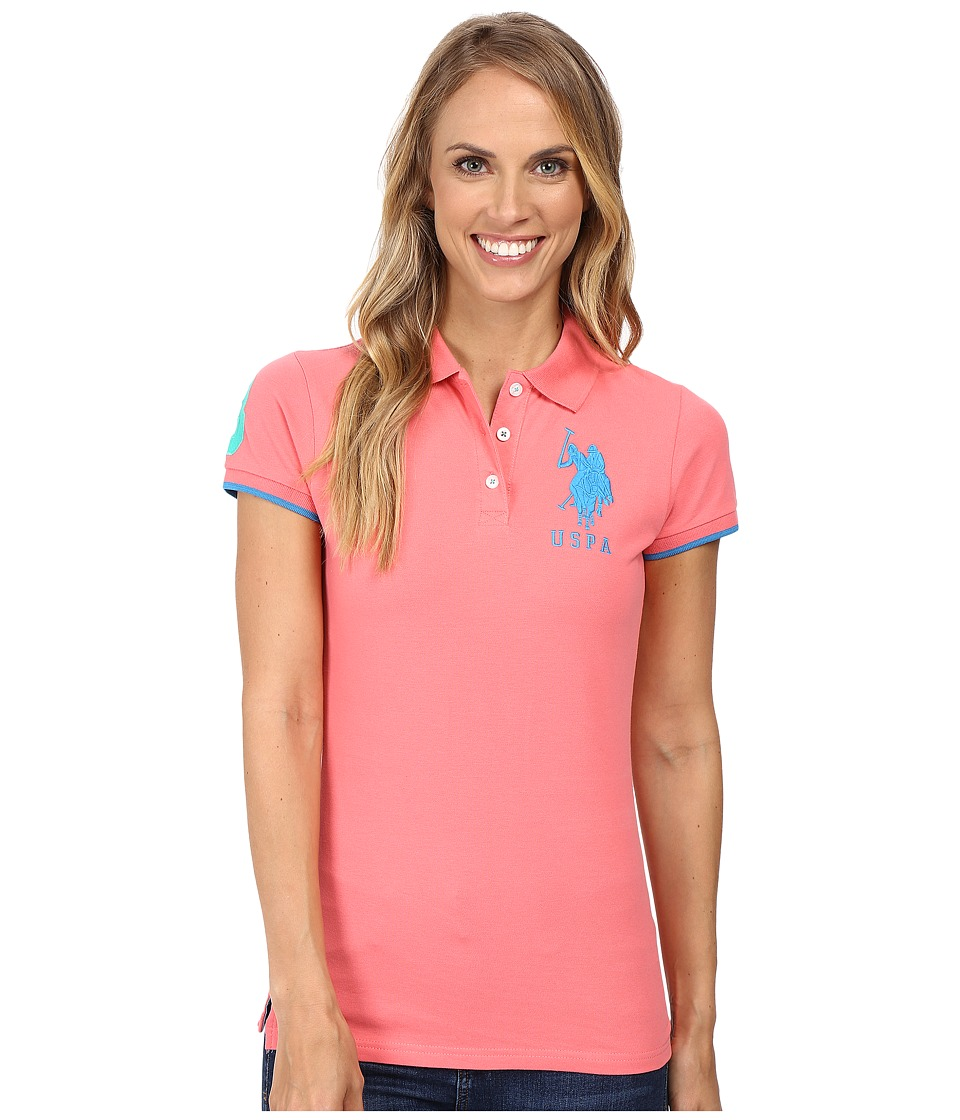 U.S. POLO ASSN. - Contrast Patch Big Pony Polo (Sunkist Coral) Women's Short Sleeve Pullover