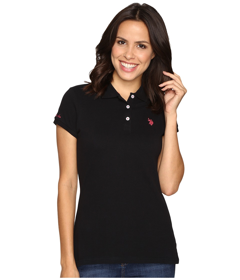 U.S. POLO ASSN. - Solid Pique Polo Shirt (Black/Pink) Women's Clothing