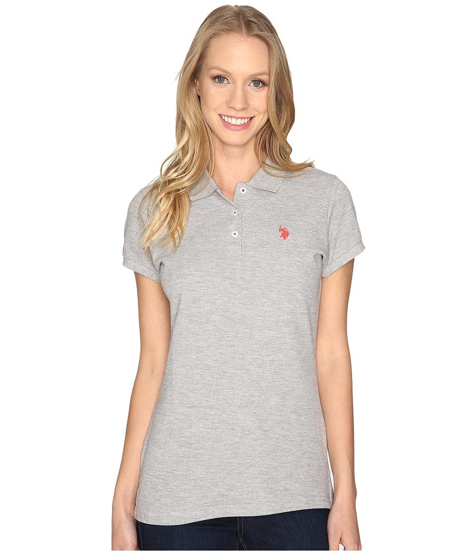 U.S. POLO ASSN. - Solid Pique Polo Shirt (Heather Grey/Red) Women's Clothing