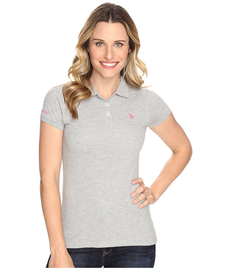 U.S. POLO ASSN. - Solid Pique Polo Shirt (Heather/Pink) Women's Clothing
