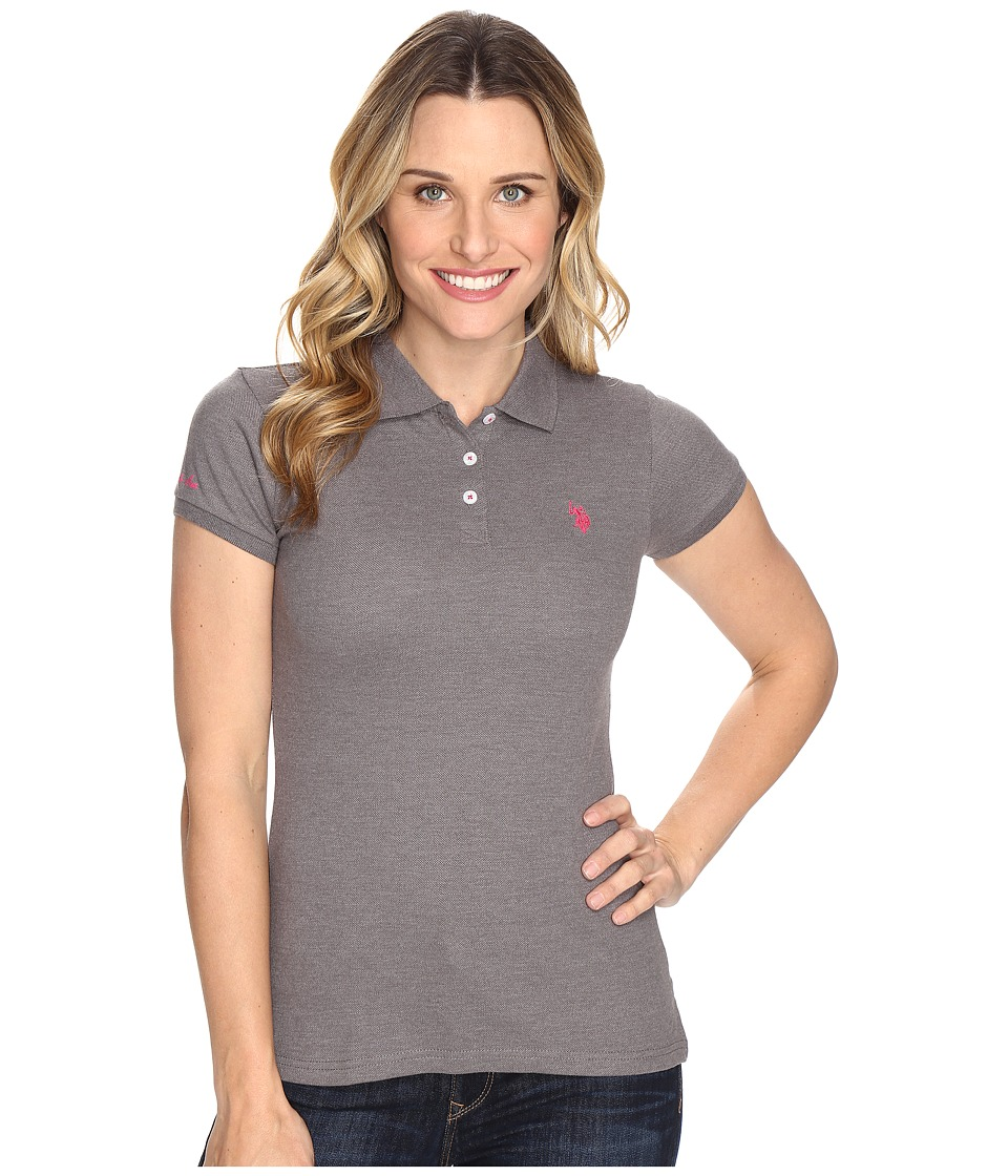 U.S. POLO ASSN. - Solid Pique Polo Shirt (Heather Charcoal) Women's Clothing