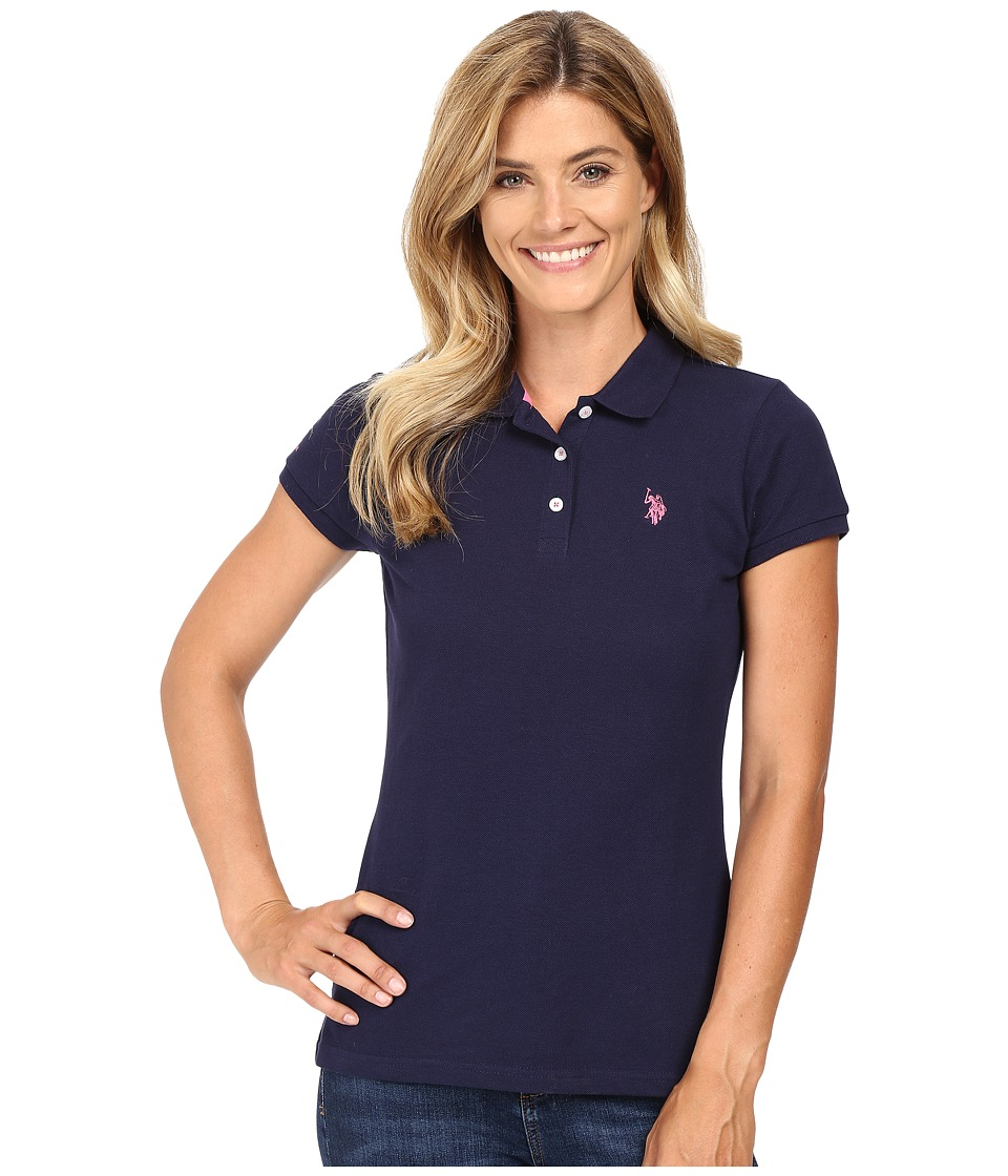U.S. POLO ASSN. - Solid Pique Polo Shirt (Navy/Pink) Women's Clothing