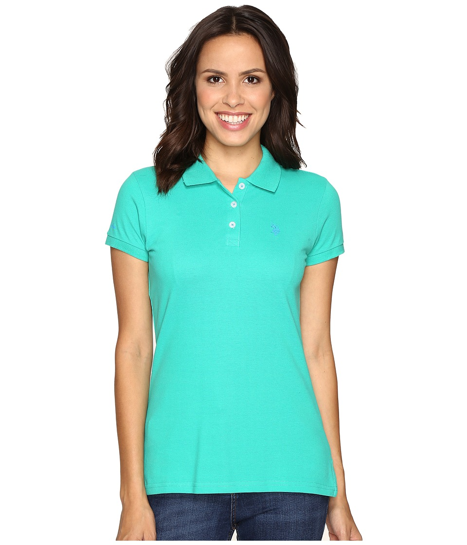U.S. POLO ASSN. - Solid Pique Polo Shirt (Peacock Green) Women's Clothing
