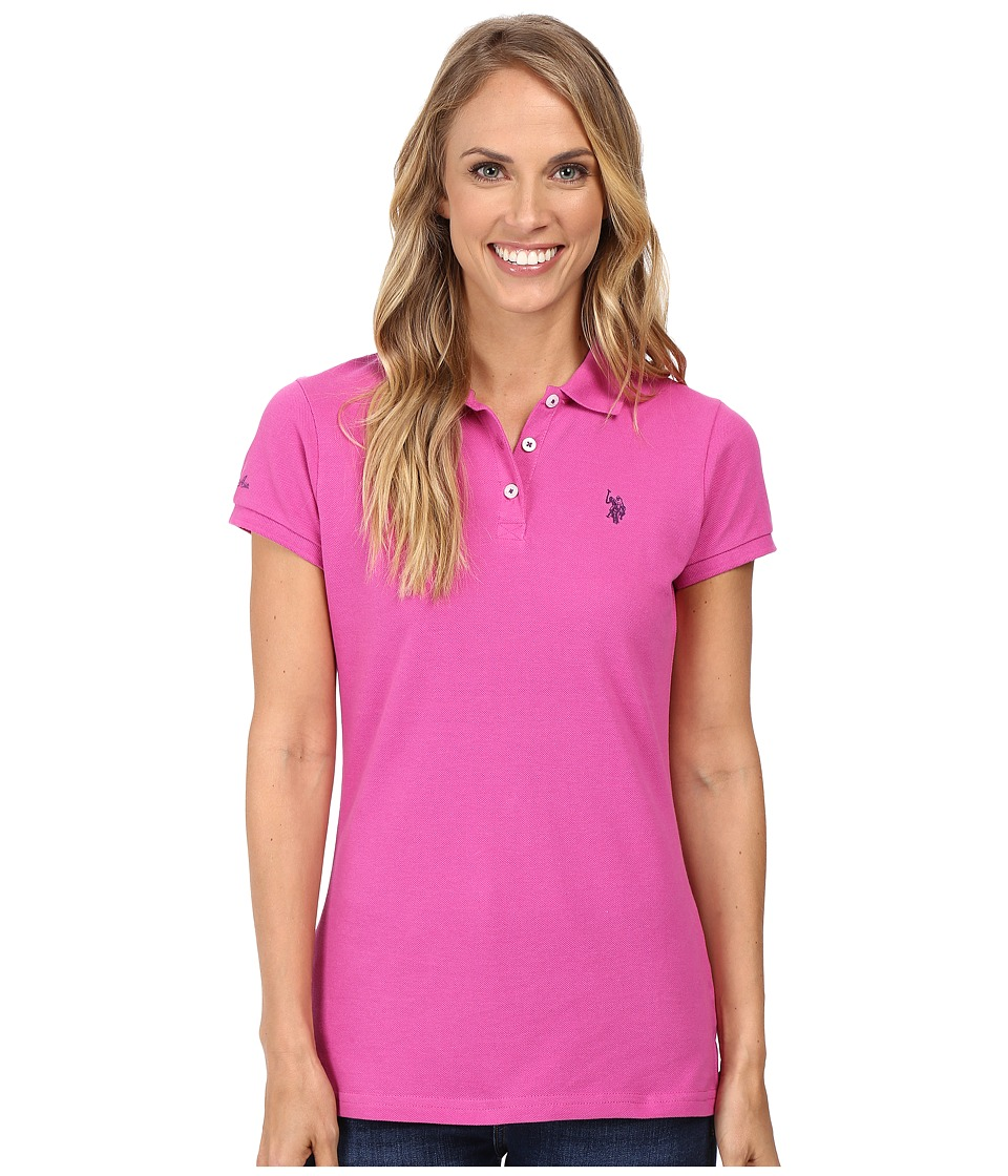 U.S. POLO ASSN. - Solid Pique Polo Shirt (Rose Violet) Women's Clothing