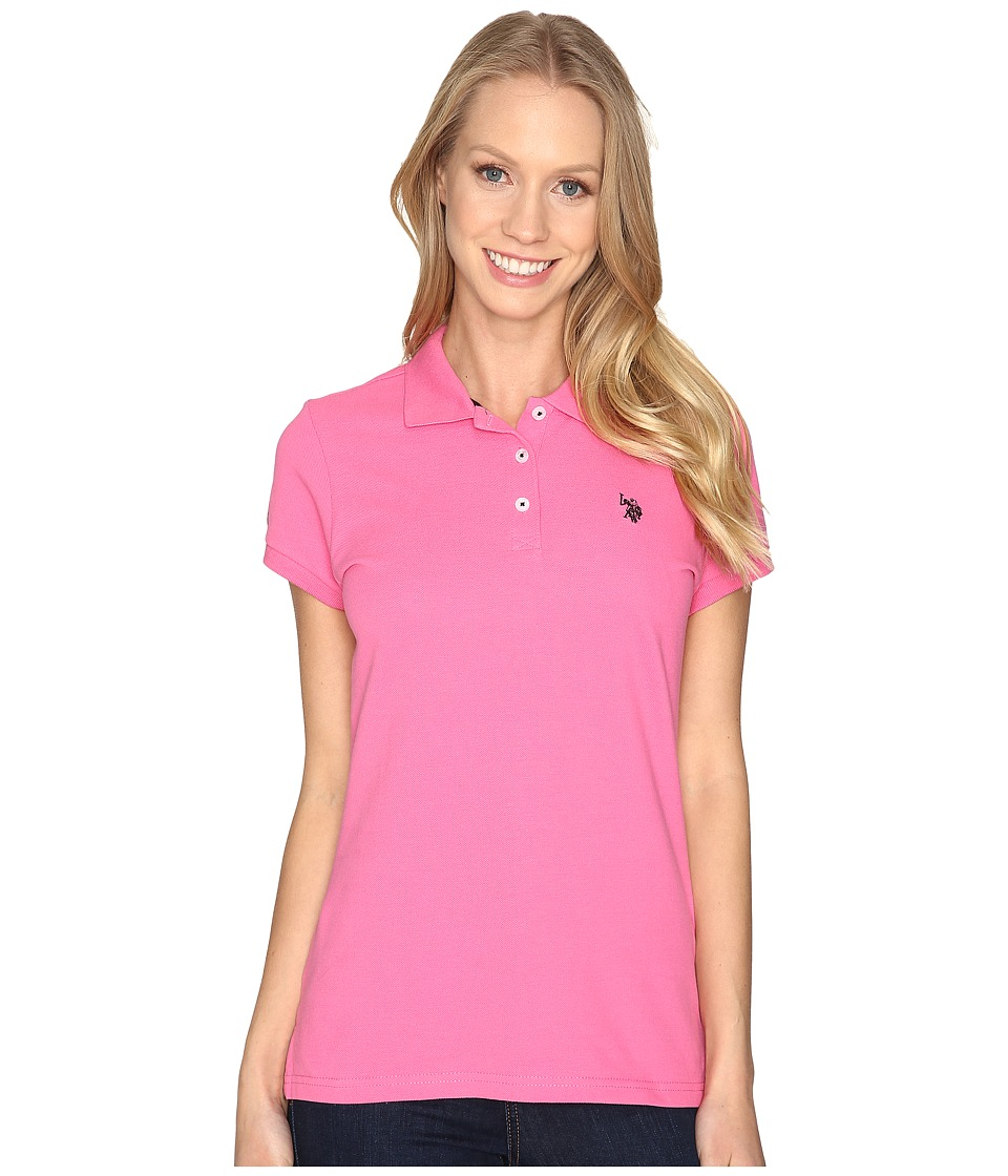 U.S. POLO ASSN. - Solid Pique Polo Shirt (Shocking Pink) Women's Clothing
