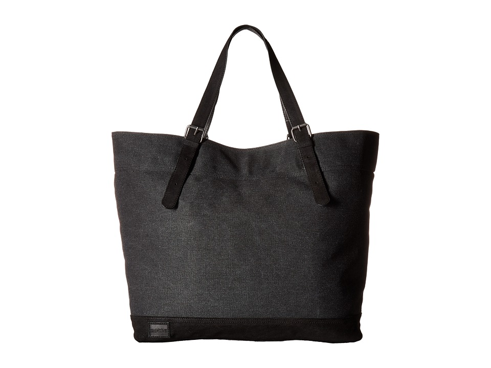 TOMS - Canvas Leather Tote (Black) Tote Handbags