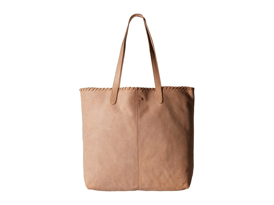 TOMS - DSL Leather Tote (Medium Brown) Tote Handbags